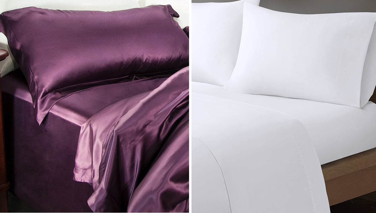 Two beds, one has purple satin sheets and the other has white cotton sheets