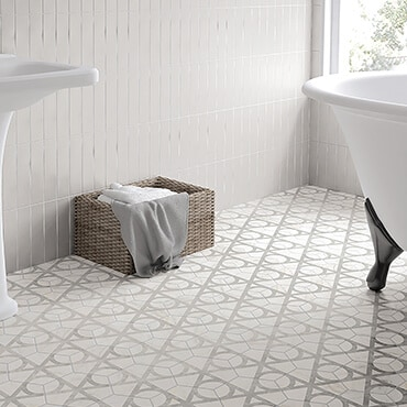 Porcelin bathroom tile with a gray and white design