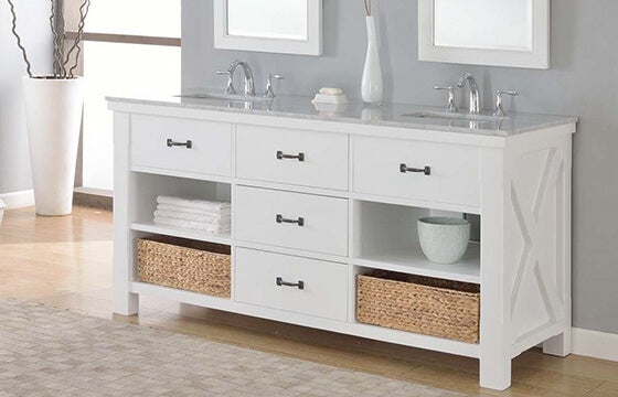 Double white vanity shown in bathroom with storage shelves underneath sink