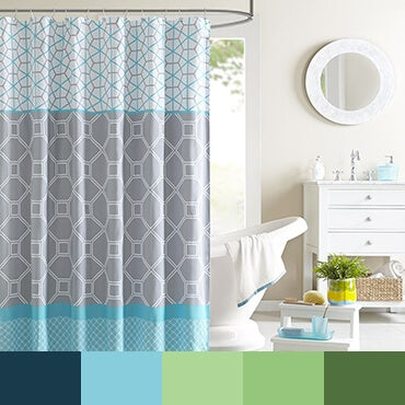 Blue and gray shower cutrain shown in bathroom with blue and green color palette