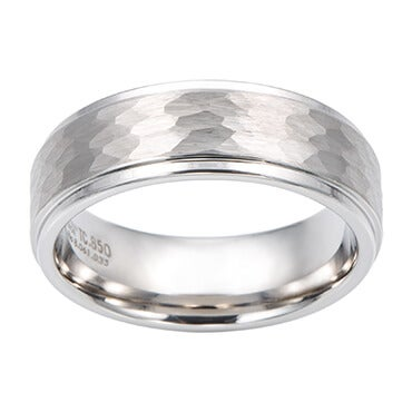 Men's wedding ring with hammered silver finish
