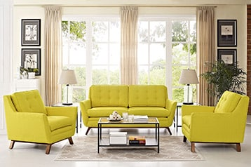 Living room with jute rug and yellow couches