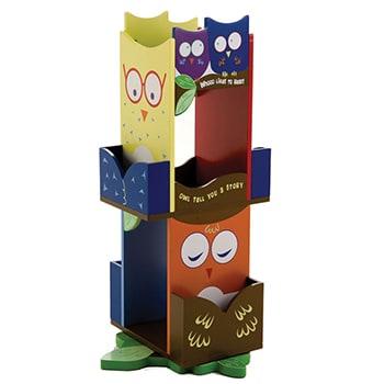 A children's revolving bookcase in a colorful owl theme