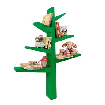 A bright green plastic modern tree with children's books and accessories on the branches