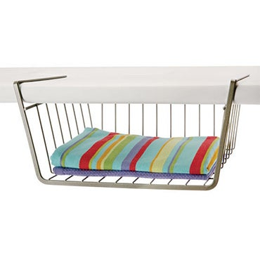 Under shelf basket with linens
