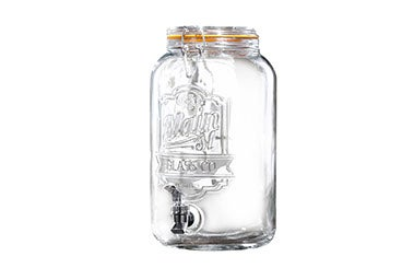 large, clear glass mason jar beverage dispenser