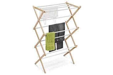tall wood and plastic accordion - style laundry drying rack