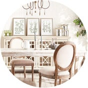 French country dining room with a white dining set and a chandelier