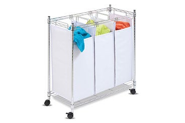 three-sectioned white fabric laundry hamper on wheels