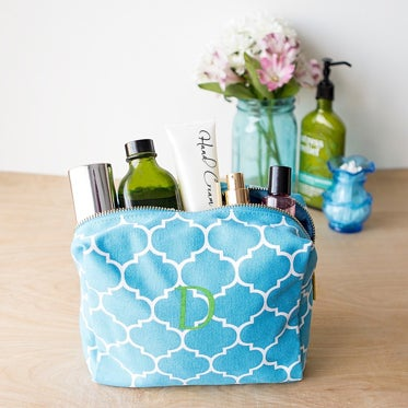 blue and white makeup case