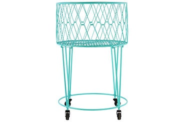 turquoise, metal basket laundry cart