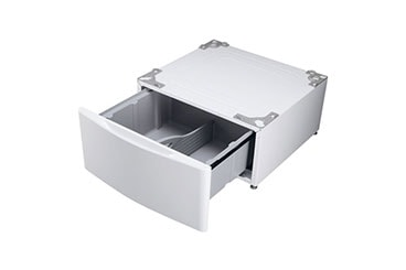 white washer/dryer pedestal with pull-out drawer