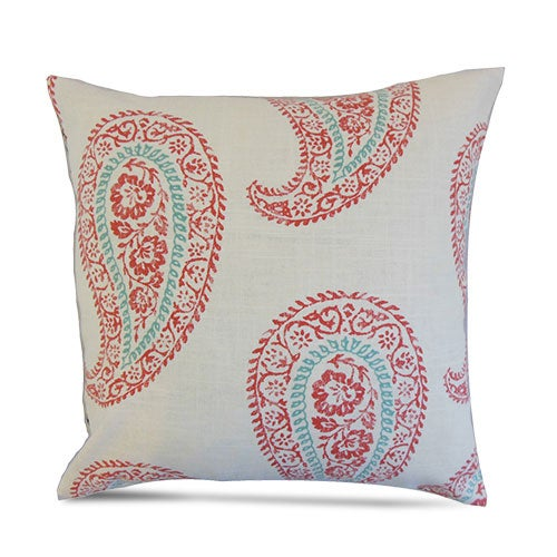 Coral Paisley throw pillow