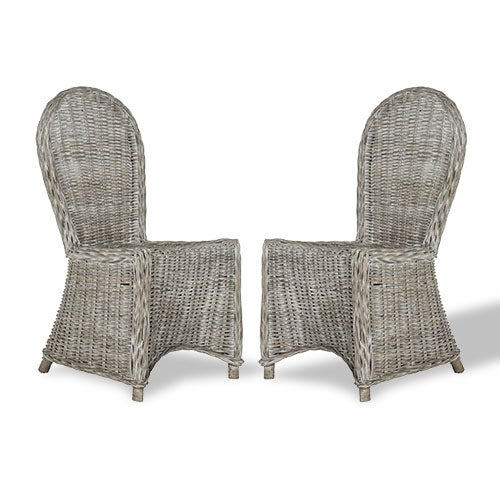 Woven rattan dining chairs