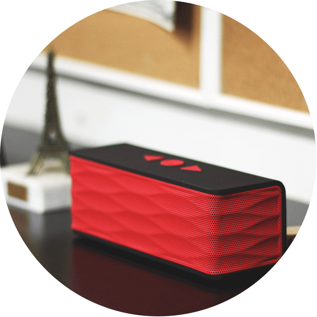 A red bluetooth speaker that is a great Christmas gift idea