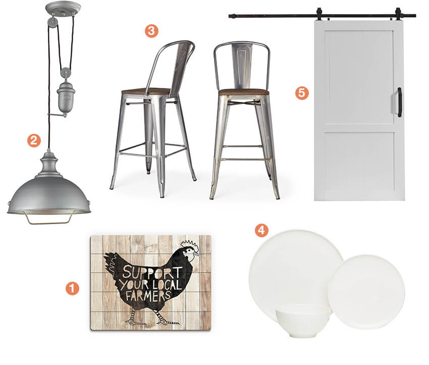 A collage of farmhouse décor, a farmhouse pendant light, metal barstools, a white barndoor, white casual china, and farmhouse artwork