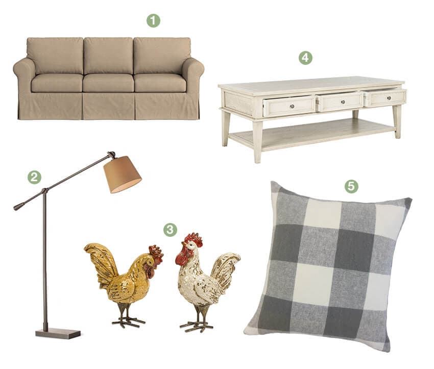 A collage of farmhouse living room décor; an oatmeal sofa, white coffee table, floor lamp, chicken décor, and plaid throw pillow