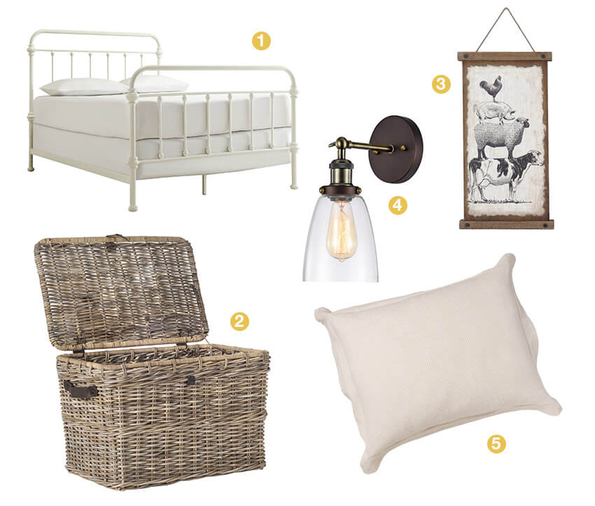 A collage a farmhouse bedroom décor; a white metal bedframe, bronze sconce lighting, a wicker storage basket, linen seersucker bedding, farmhouse wall art