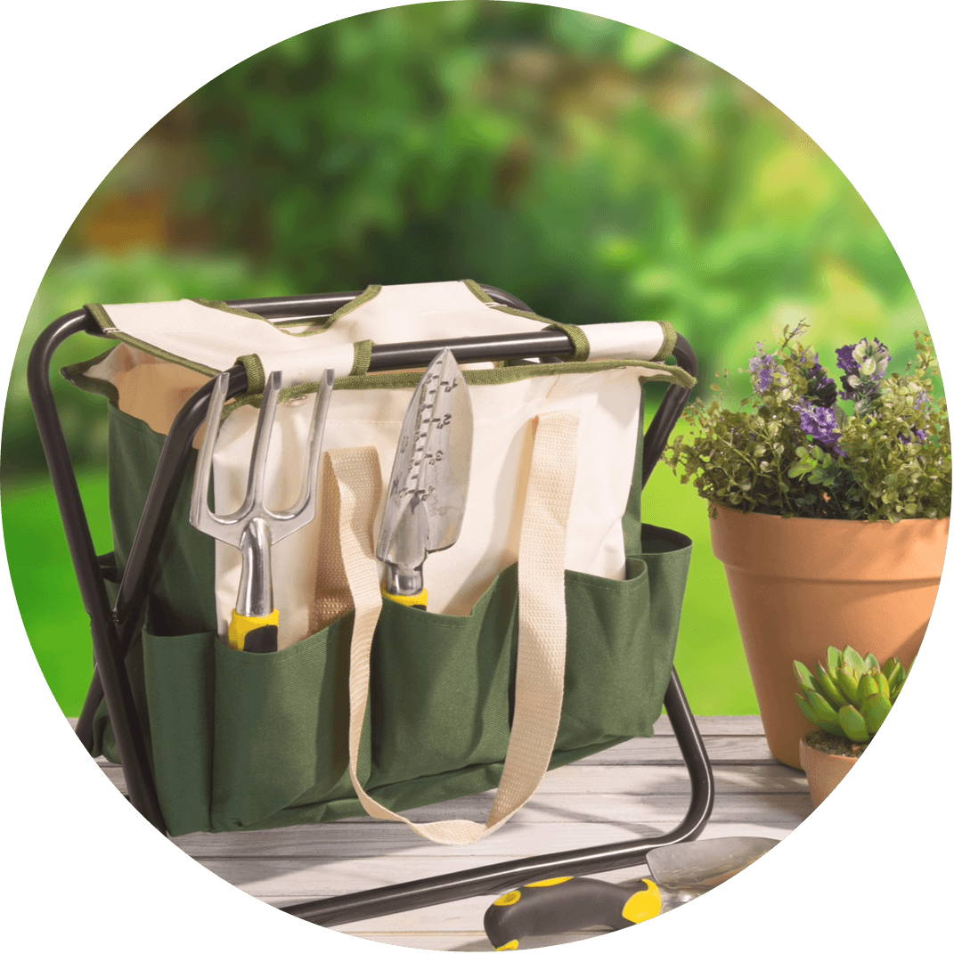 A gardening stool and gardening tools, a perfect Christmas gift for the woman who likes to gardner