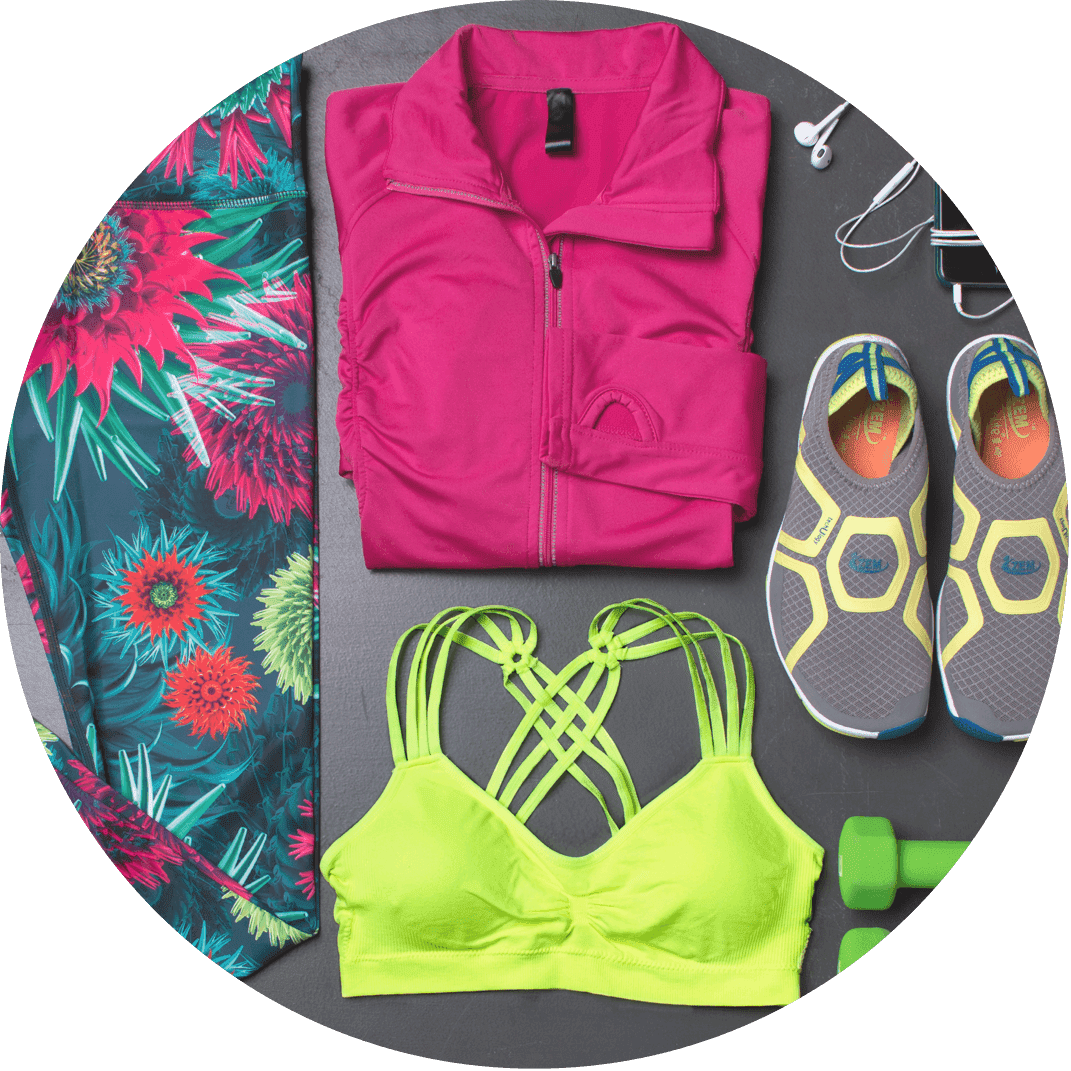 A collage of womans workout gear, a perfect Christmas gift for the woman who loves fitness