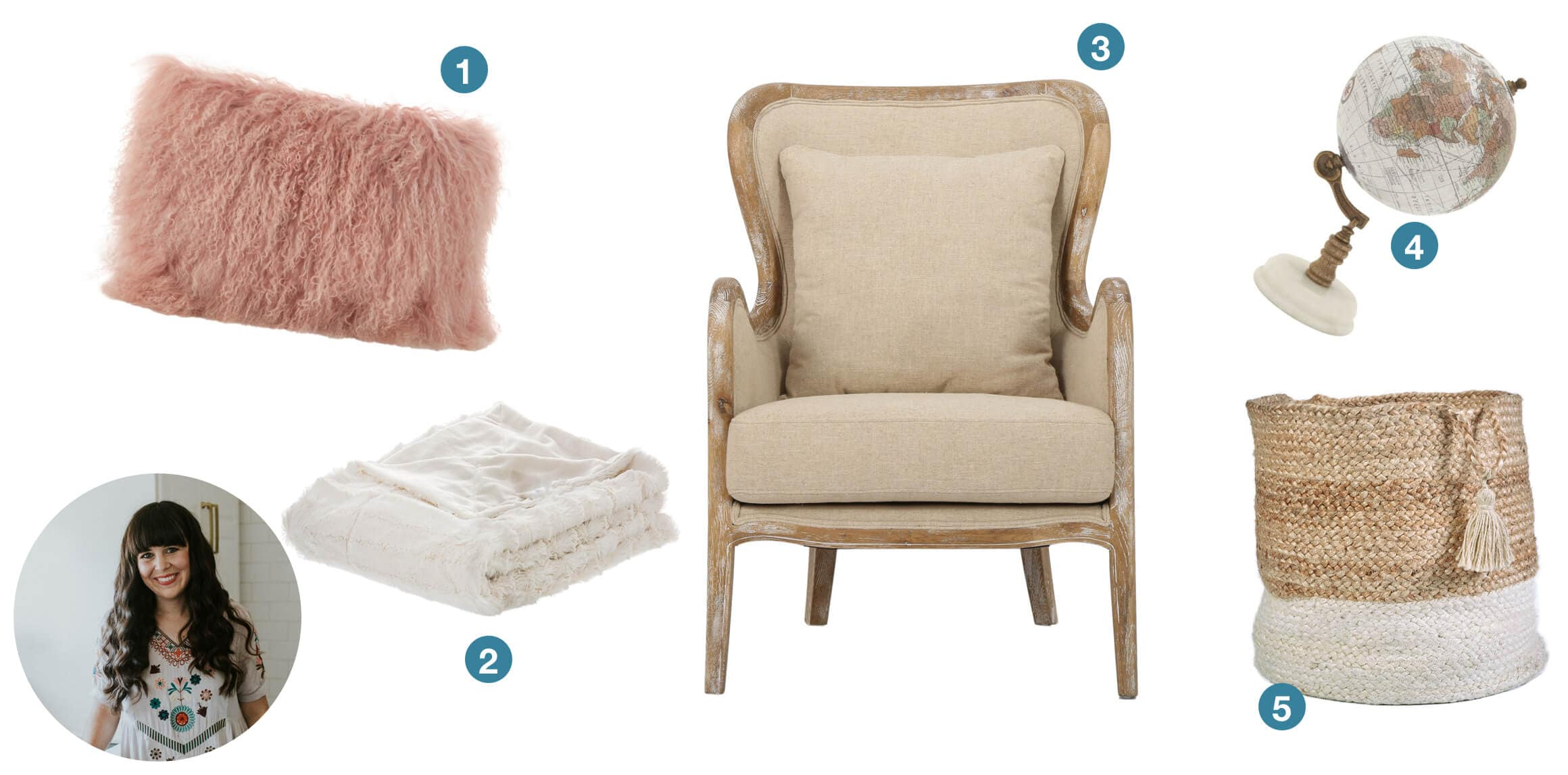 A pink faux fur throw pillow, a faux fur throw blanket, a french country wingback accnet chair, a wicker basket, and a small globe home decor piece. These are great gift ideas submitted from design blogger At Home with Ashley.