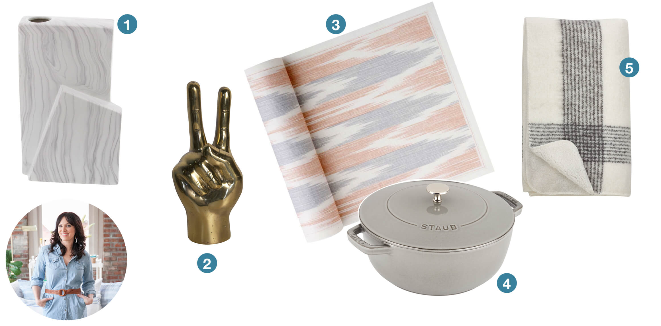 A grey vase, brass hands in a peace sign, ikat napkins, grey castiron skillet, and a plaid throw blanket. These are great gift ideas submitted from design blogger coco + kelley.