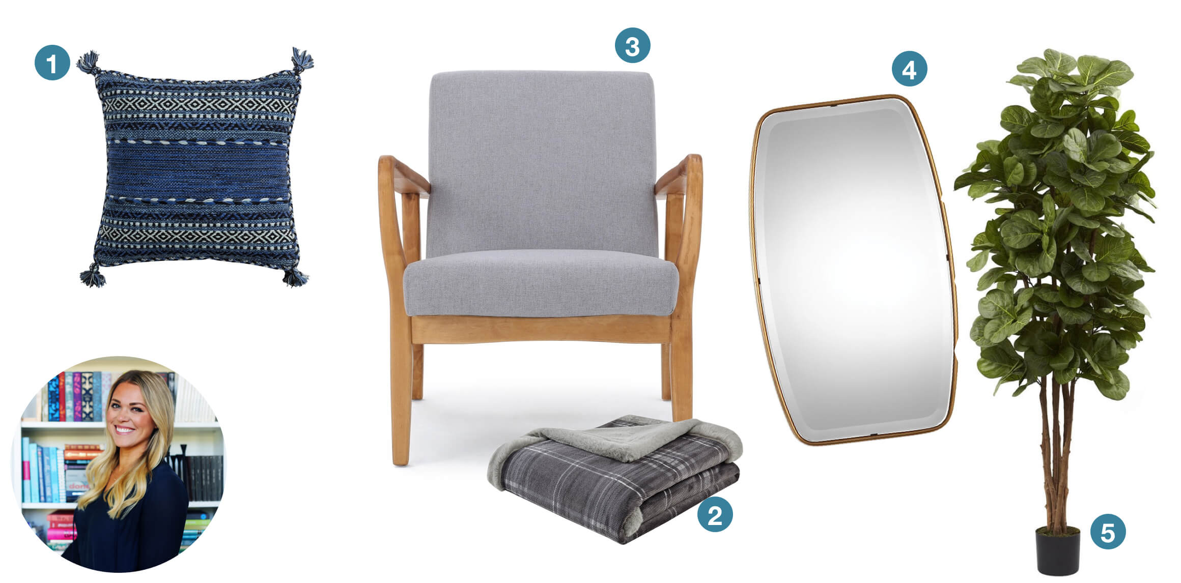 A blue tassle throw pillow, grey Mid-Century Modern chair, grey throw blanket, gold mirror, and a fuax fiddle fig plant. These are great gift ideas submitted from design blogger Little Green Notebook.
