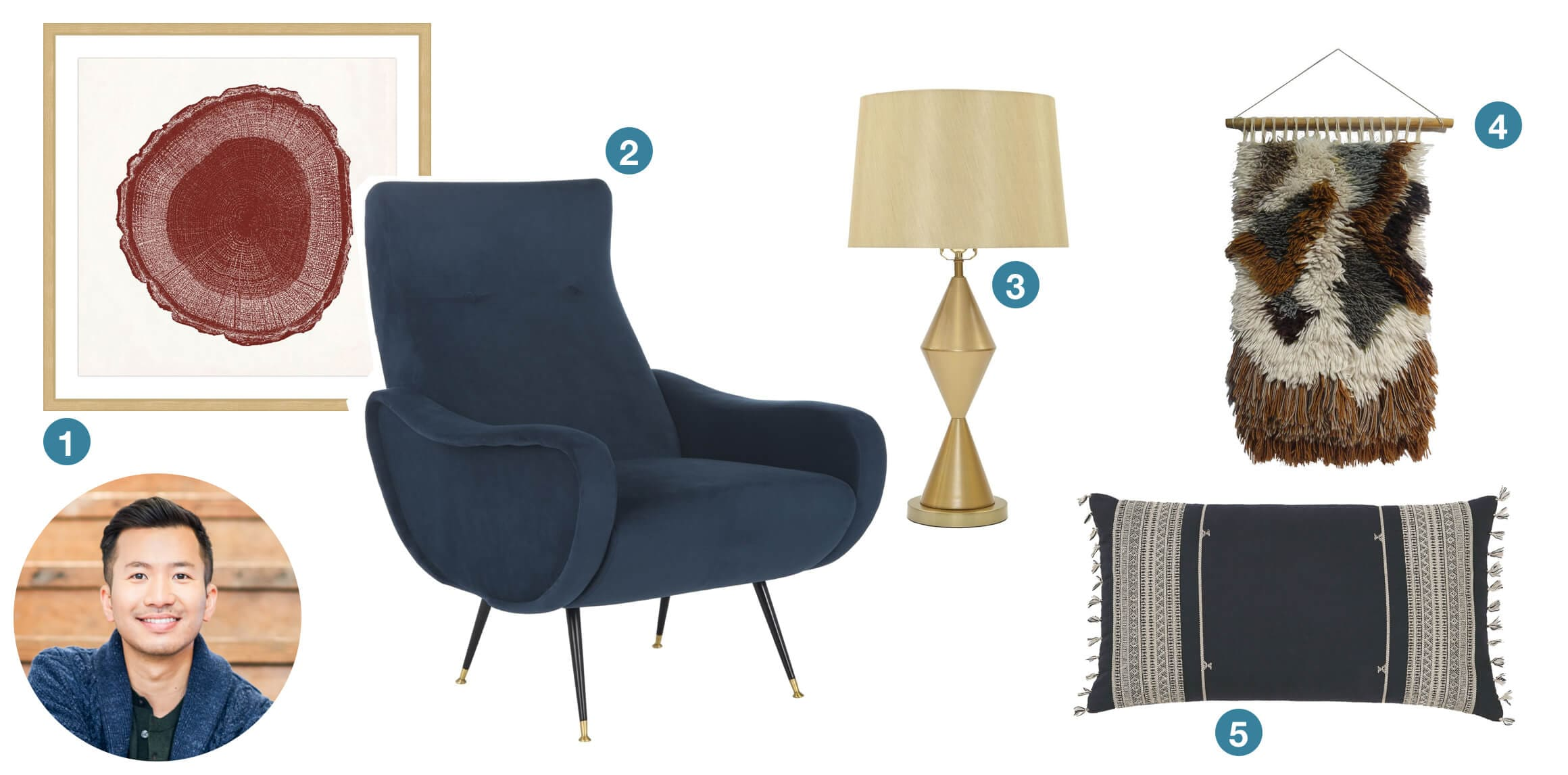 A wood stump art piece, blue velvet modern chair, gold diamond table lamp, moroccan wall hanging, and blue lumbar throw pillow. These are great gift ideas submitted from design blogger Old Brand New.