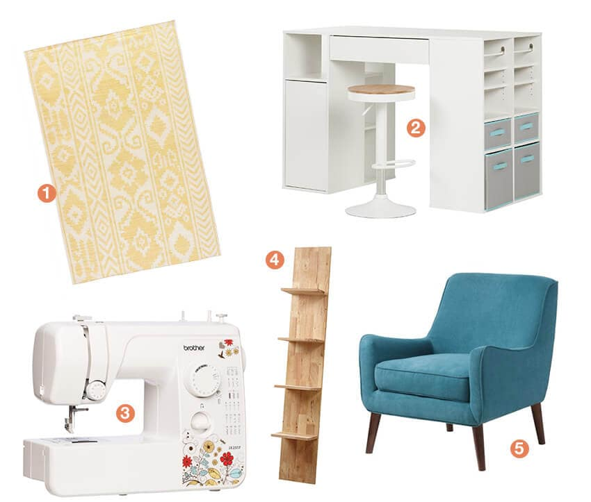 A collage of products that would be perfect in a craft room; a craft table, sewing machine, bookshelf, accent chair, and area rug