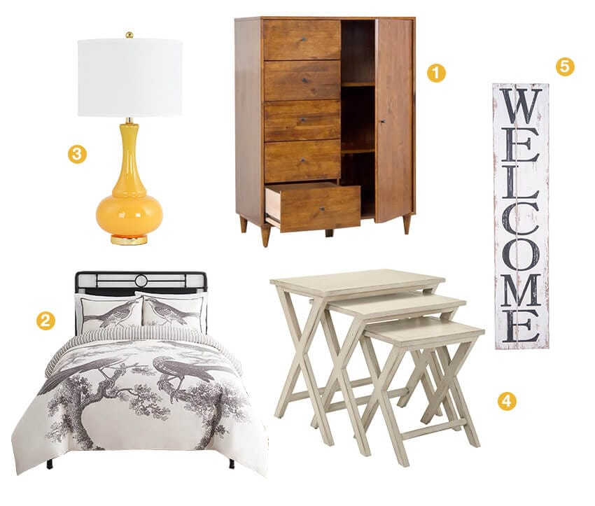 A collage of products perfect for a guest bedroom; fashion bedding, a dresser, table lamp, stacking nightstands, and wall décor