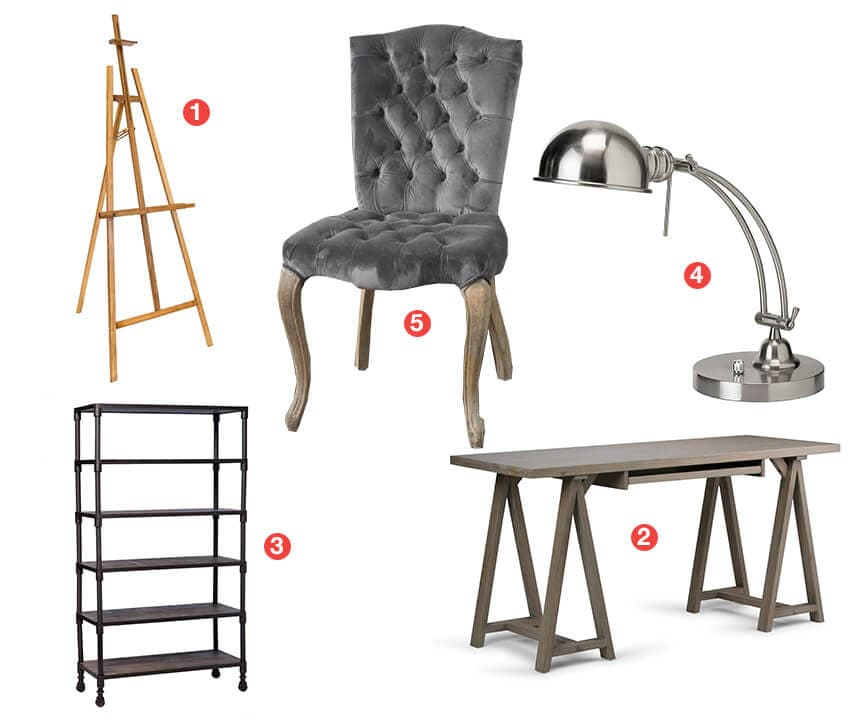 A collage of product perfect for an art studio; an easel, bookshelf, desk, accent  chair, and desk lamp