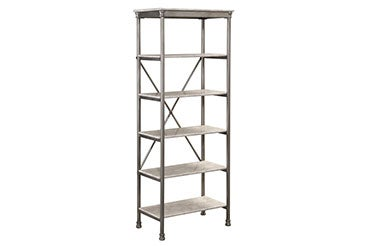 gray, 6-tier shelf with metal frame and marble shelves