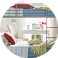 Kids' bedroom with a metal bunkbed