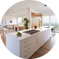 White open concept kitchen