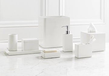 White toothbrush holder, soap dish, napkin dispenser, and other bathroom accessories