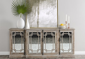 Wooden buffet with mirrored cabinet doors