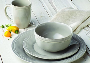 Stoneware plates, bowls, and mugs