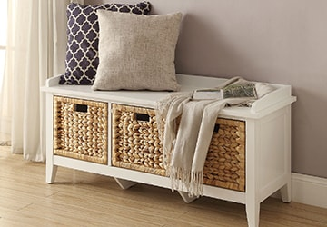 White bench with baskets for drawers