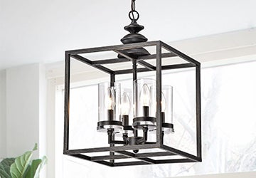Metal pendant light with candelabra lightbulbs