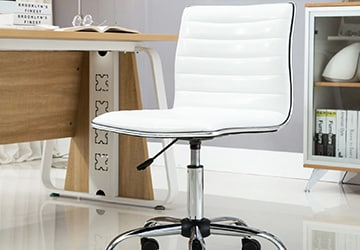 Rolling office chair with a padded seat and an adjustable height base