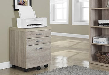 Wooden filing cabinet with an office printer on top of it
