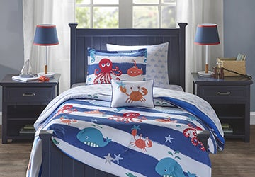 Kids' bed-in-a-bag set with a fun nautical theme