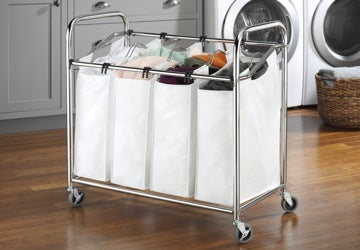 Laundry hamper with rolling wheels