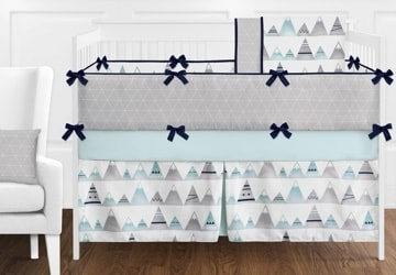 Complete set of bedding for a crib