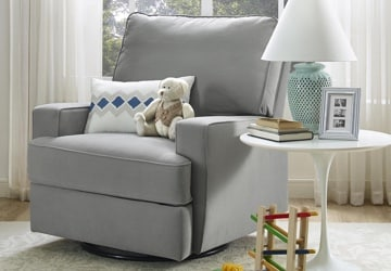 Gray glider beside a white end table