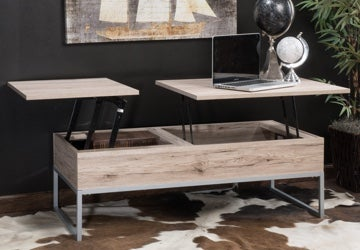 Deluxe coffee table with top lifted