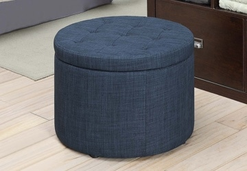 Blue ottoman with storage inside