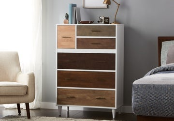 White chest of drawers with brown drawers