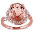 Miadora Rose Plated Silver Simulated Morganite and Cubic Zirconia Ring