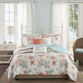 Madison Park Pacific Grove Coral Cotton Sateen Quilted Coverlet Set